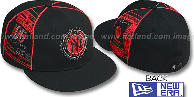 Yankees 'C-NOTE' Black-Red Fitted Hat by New Era : pictured without stickers that these products are shipped with