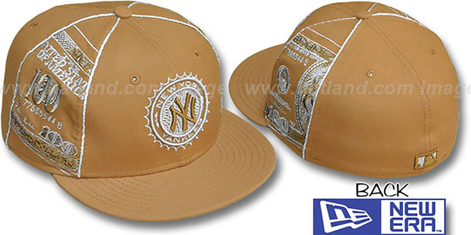 Yankees 'C-NOTE' Wheat-Silver Fitted Hat by New Era : pictured without stickers that these products are shipped with