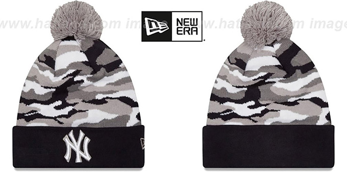 Yankees 'CAMO CAPTIVATE' Knit Beanie Hat by New Era : pictured without stickers that these products are shipped with