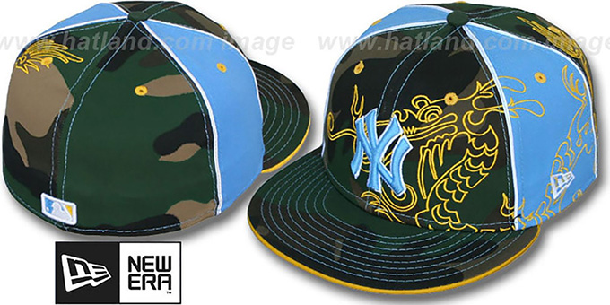 Yankees 'CAMO DRAGON'  Army-Blue Fitted Hat by New Era : pictured without stickers that these products are shipped with