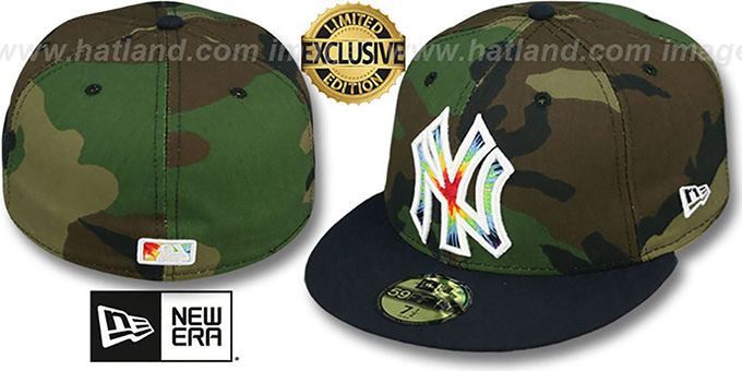 Yankees 'CAMO TYE-DYE INSIDER' Army-Navy Fitted Hat by New Era : pictured without stickers that these products are shipped with