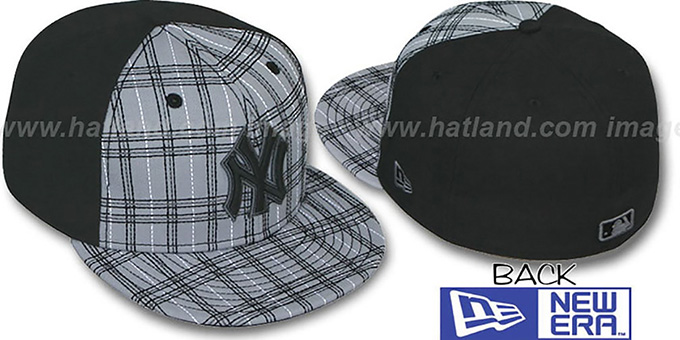 Yankees 'CHAINSAW' Grey-Black Fitted Hat by New Era : pictured without stickers that these products are shipped with