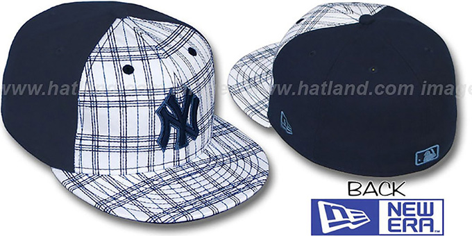 Yankees 'CHAINSAW' White-Navy Fitted Hat by New Era : pictured without stickers that these products are shipped with