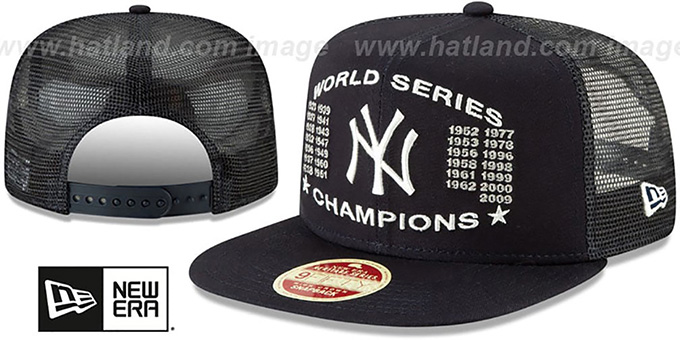feb7784750f8a Yankees  CHAMPIONS TRUCKER SNAPBACK  Navy Hat by New Era