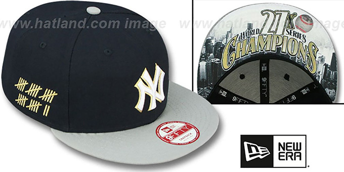 Yankees 'CHAMPS-HASH SNAPBACK' Navy-Grey Hat by New Era : pictured without stickers that these products are shipped with