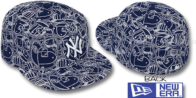 Yankees 'CHAOS PUFFY' Navy-White Fitted Hat by New Era : pictured without stickers that these products are shipped with
