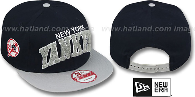 Yankees 'CHENILLE-ARCH SNAPBACK' Navy-Grey Hat by New Era : pictured without stickers that these products are shipped with