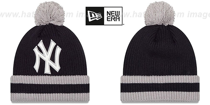 Yankees 'CHILLER FILLER BEANIE' Navy-Grey by New Era : pictured without stickers that these products are shipped with