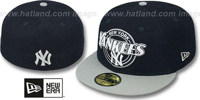 Yankees 'CIRCLE-CLOSER' Navy-Grey Fitted Hat by New Era : pictured without stickers that these products are shipped with