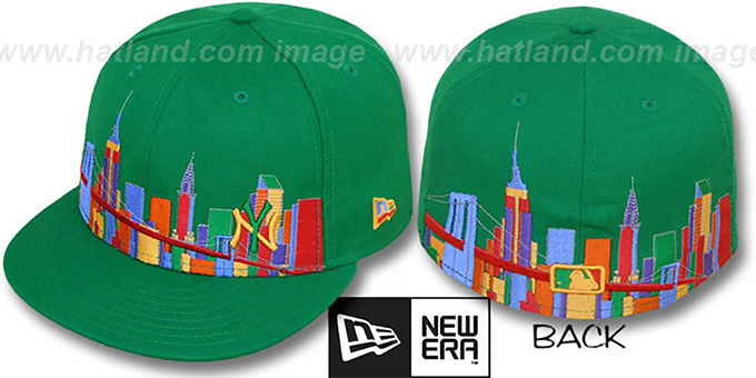 Yankees 'CITY DEEP-SKYLINE' Green-Multi Fitted Hat by New Era : pictured without stickers that these products are shipped with