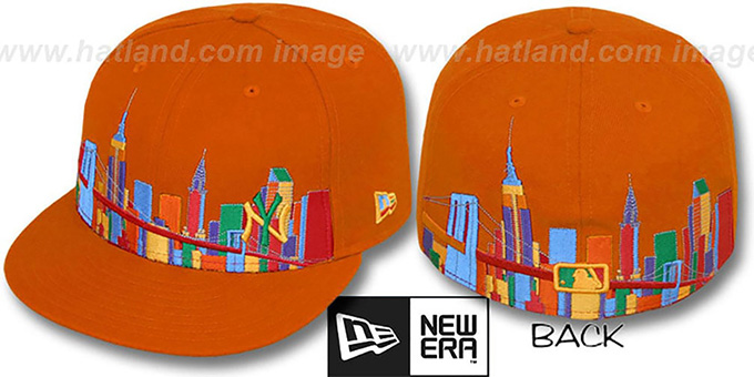 Yankees 'CITY DEEP-SKYLINE' Orange-Multi Fitted Hat by New Era : pictured without stickers that these products are shipped with