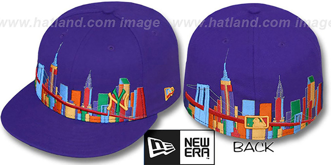 Yankees 'CITY DEEP-SKYLINE' Purple-Multi Fitted Hat by New Era : pictured without stickers that these products are shipped with