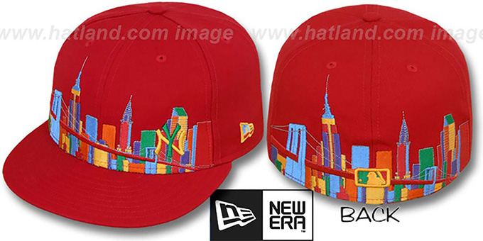 Yankees 'CITY DEEP-SKYLINE' Red-Multi Fitted Hat by New Era : pictured without stickers that these products are shipped with