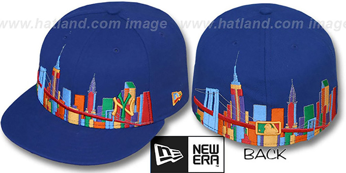 Yankees 'CITY DEEP-SKYLINE' Royal-Multi Fitted Hat by New Era : pictured without stickers that these products are shipped with