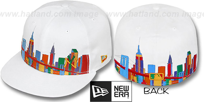 Yankees 'CITY DEEP-SKYLINE' White-Multi Fitted Hat by New Era : pictured without stickers that these products are shipped with