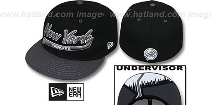 Yankees 'CITY-SCRIPT' Black-Grey Fitted Hat by New Era : pictured without stickers that these products are shipped with