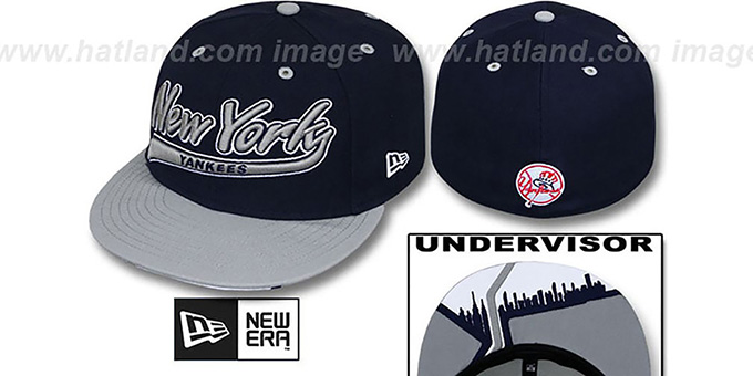 Yankees 'CITY-SCRIPT' Navy-Grey Fitted Hat by New Era : pictured without stickers that these products are shipped with