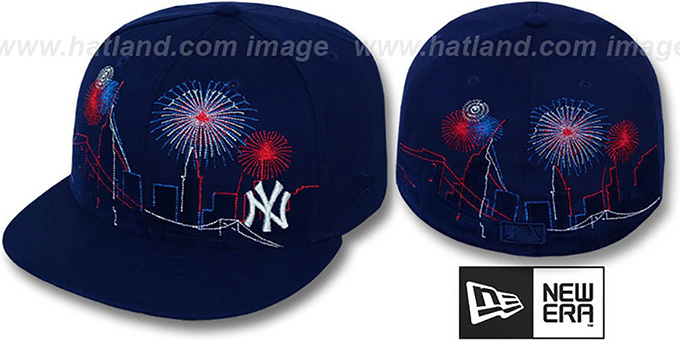 Yankees 'CITY-SKYLINE FIREWORKS' Navy Fitted Hat by New Era : pictured without stickers that these products are shipped with