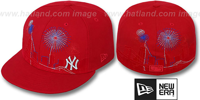 Yankees 'CITY-SKYLINE FIREWORKS' Red Fitted Hat by New Era : pictured without stickers that these products are shipped with