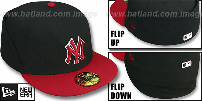 Yankees 'CLEAN CUT FLIP-DOWN' Black-Red Fitted Hat by New Era : pictured without stickers that these products are shipped with