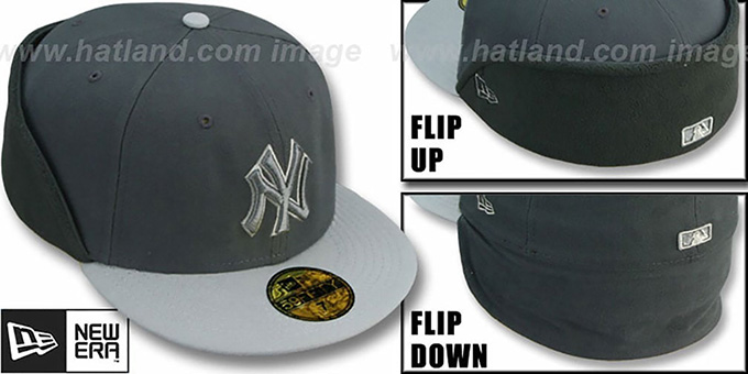 Yankees 'CLEAN CUT FLIP-DOWN' Grey-Grey Fitted Hat by New Era : pictured without stickers that these products are shipped with
