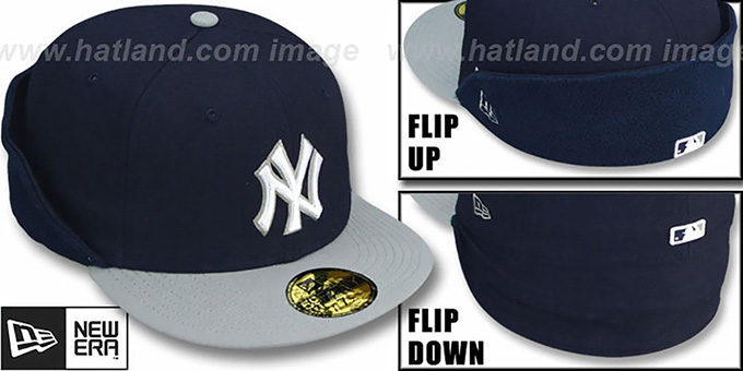Yankees 'CLEAN CUT FLIP-DOWN' Navy-Grey Fitted Hat by New Era : pictured without stickers that these products are shipped with