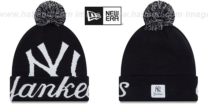 Yankees 'COLOSSAL-TEAM' Navy Knit Beanie Hat by New Era : pictured without stickers that these products are shipped with