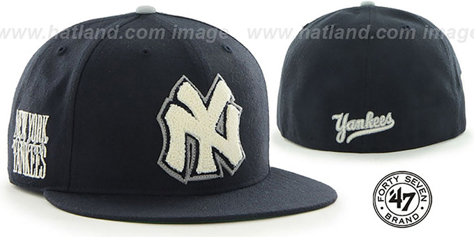 Yankees COOP 'CATERPILLAR' Navy Fitted Hat by 47 Brand : pictured without stickers that these products are shipped with