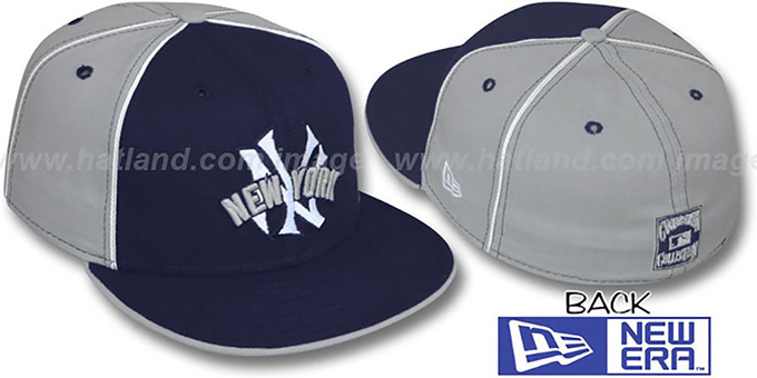 Yankees COOP 'DECEPTOR-2 PINWHEEL' Navy-Grey Fitted Hat : pictured without stickers that these products are shipped with