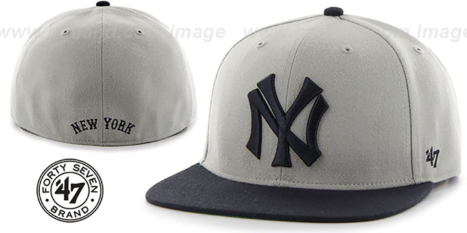 Yankees 'COOP HOLE-SHOT' Grey-Navy Fitted Hat by Twins 47 Brand : pictured without stickers that these products are shipped with