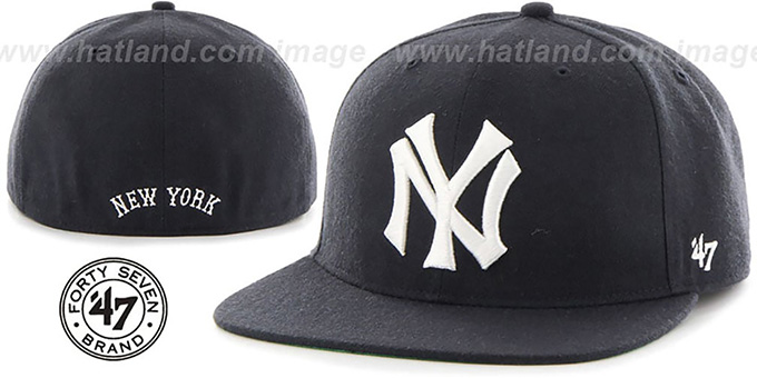 Yankees 'COOP HOLE-SHOT' Navy Fitted Hat by Twins 47 Brand : pictured without stickers that these products are shipped with