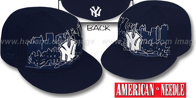 Yankees 'COOPERSTOWN SKYLINE' Navy Fitted Hat by American Needle : pictured without stickers that these products are shipped with