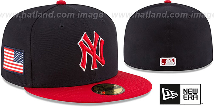 Yankees 'COUNTRY COLORS' Navy-Red Fitted Hat by New Era : pictured without stickers that these products are shipped with