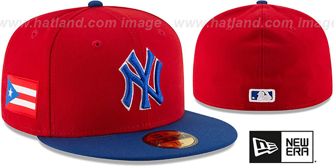 Yankees 'COUNTRY COLORS' Red-Royal Fitted Hat by New Era : pictured without stickers that these products are shipped with