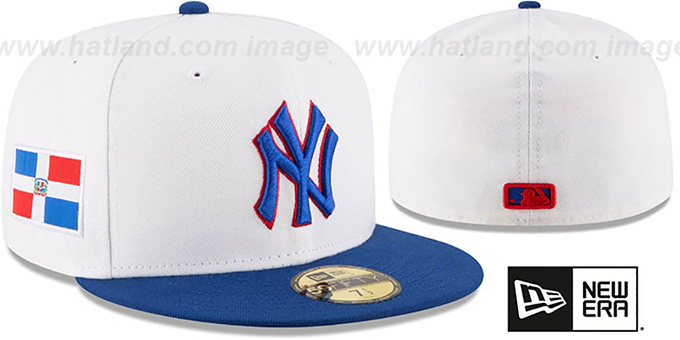 Yankees 'COUNTRY COLORS' White-Royal Fitted Hat by New Era : pictured without stickers that these products are shipped with