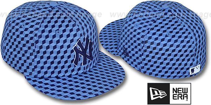 Yankees 'CUE-BERT' Blue Fitted Hat by New Era : pictured without stickers that these products are shipped with