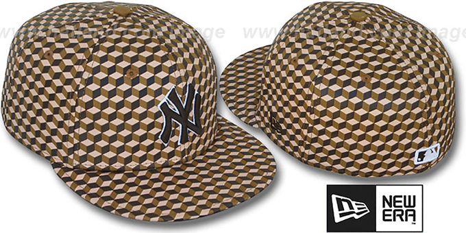 Yankees 'CUE-BERT' Brown Fitted Hat by New Era : pictured without stickers that these products are shipped with