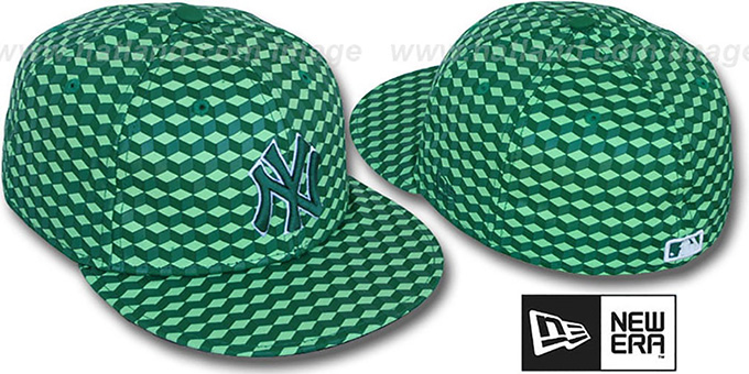 Yankees 'CUE-BERT' Green Fitted Hat by New Era : pictured without stickers that these products are shipped with