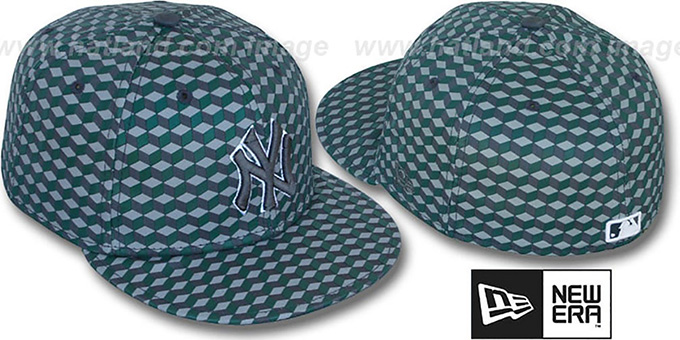 Yankees 'CUE-BERT' Grey-Green Fitted Hat by New Era : pictured without stickers that these products are shipped with