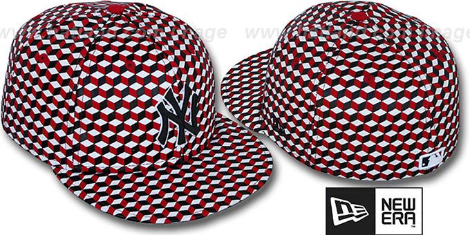 Yankees 'CUE-BERT' Red-Black-White Fitted Hat by New Era : pictured without stickers that these products are shipped with