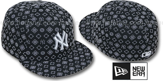 Yankees 'D-LUX ALL-OVER' Black-Grey Fitted Hat by New Era : pictured without stickers that these products are shipped with