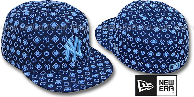 Yankees 'D-LUX ALL-OVER' Navy-Columbia Fitted Hat by New Era : pictured without stickers that these products are shipped with