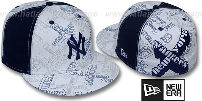 Yankees 'D-TEAMBOSSED' White-Navy Fitted Hat by New Era : pictured without stickers that these products are shipped with