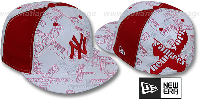Yankees 'D-TEAMBOSSED' White-Red Fitted Hat by New Era : pictured without stickers that these products are shipped with