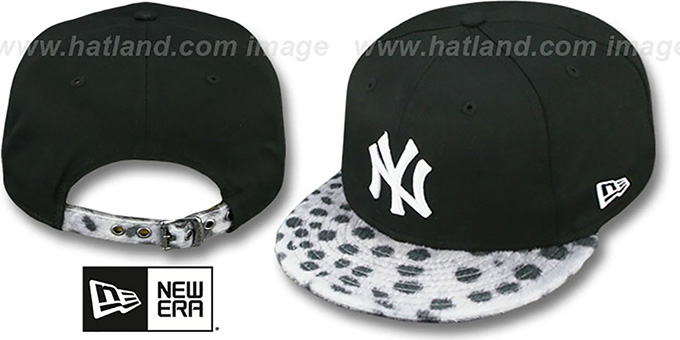 Yankees 'DALMATION ANIMALISTIC-FUR VIZA STRAPBACK' Hat by New Era : pictured without stickers that these products are shipped with