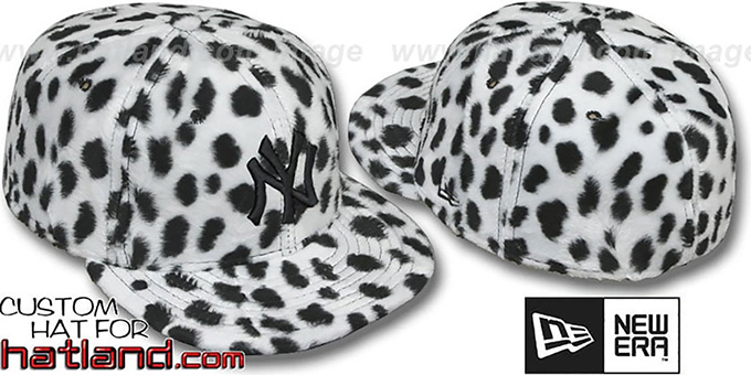 Yankees 'DALMATION PIMPIN-FUR' White Fitted Hat by New Era : pictured without stickers that these products are shipped with