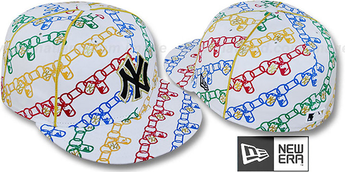 Yankees 'DAWG CHAIN' White-Multi Fitted Hat by New Era : pictured without stickers that these products are shipped with
