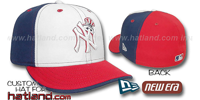 Yankees 'DECEPTOR PINWHEEL' White-Navy-Red Fitted Hat by New Era : pictured without stickers that these products are shipped with