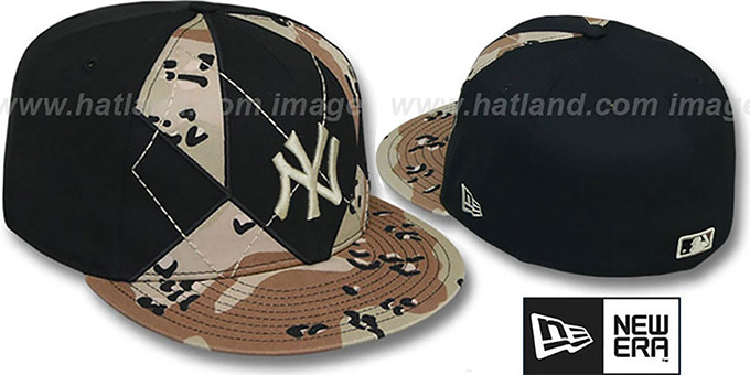Yankees 'DESERT STORM CAMO BRADY' Fitted Hat by New Era : pictured without stickers that these products are shipped with