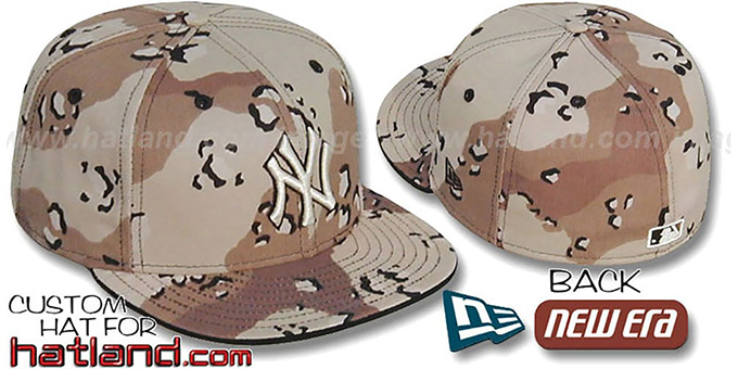 Yankees 'DESERT STORM CAMO' TNY Fitted Hat by New Era : pictured without stickers that these products are shipped with